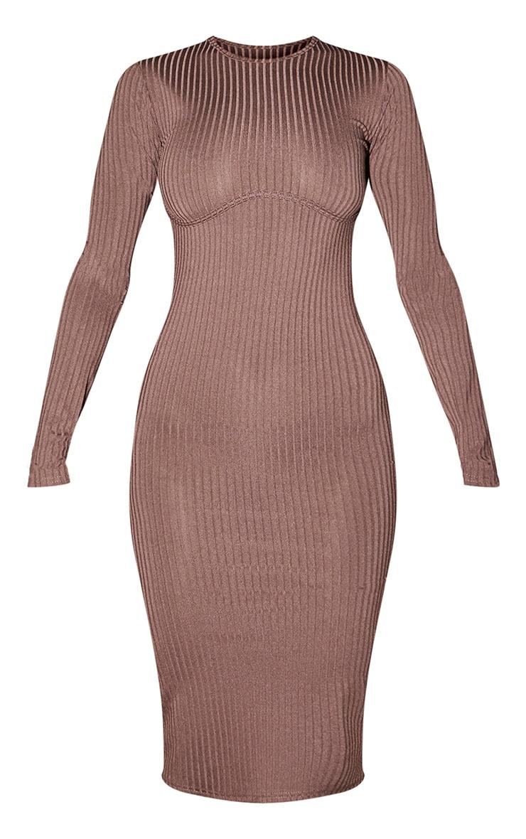 Chocolate Ribbed Underbust Binding Long Sleeve Midi Dress 5