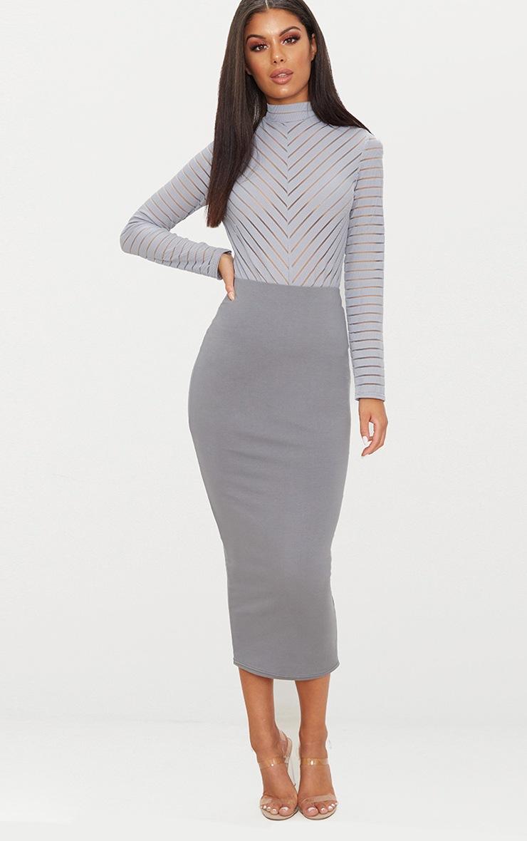 Grey Chevron Mesh Long Sleeve Thong Bodysuit  5