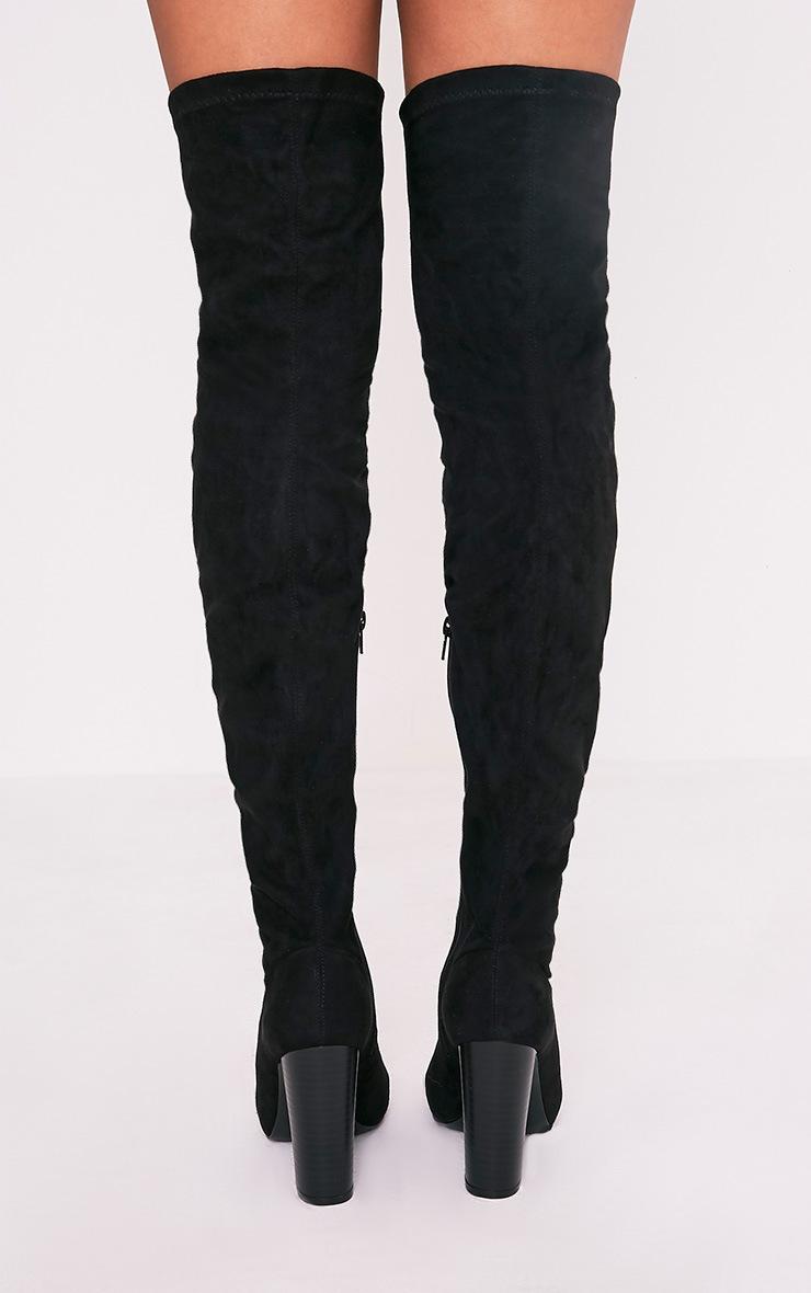 Beccy bottes cuissardes noires à bout ouvert en imitation daim 4