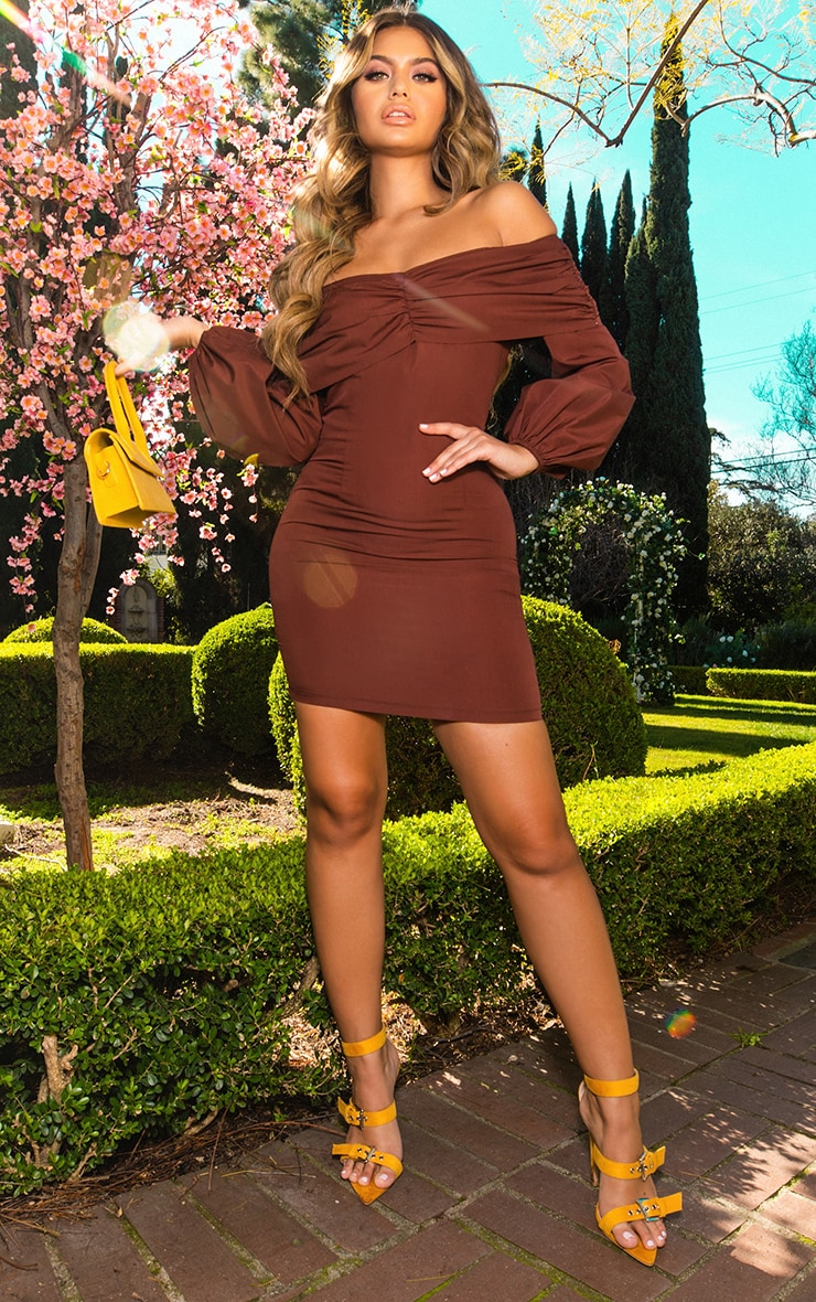 CHOCOLATE PUFF SLEEVE RUCHED BARDOT BODYCON DRESS