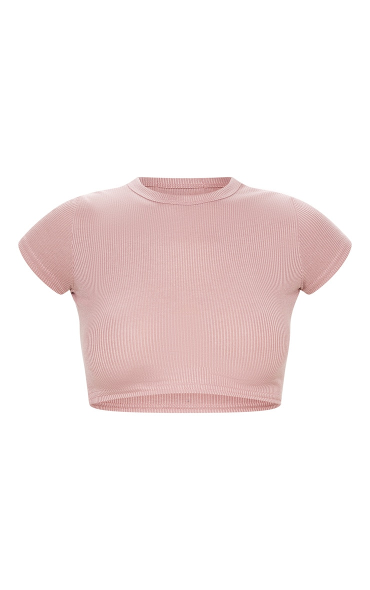 Dusty Rose Rib Crop T Shirt 2