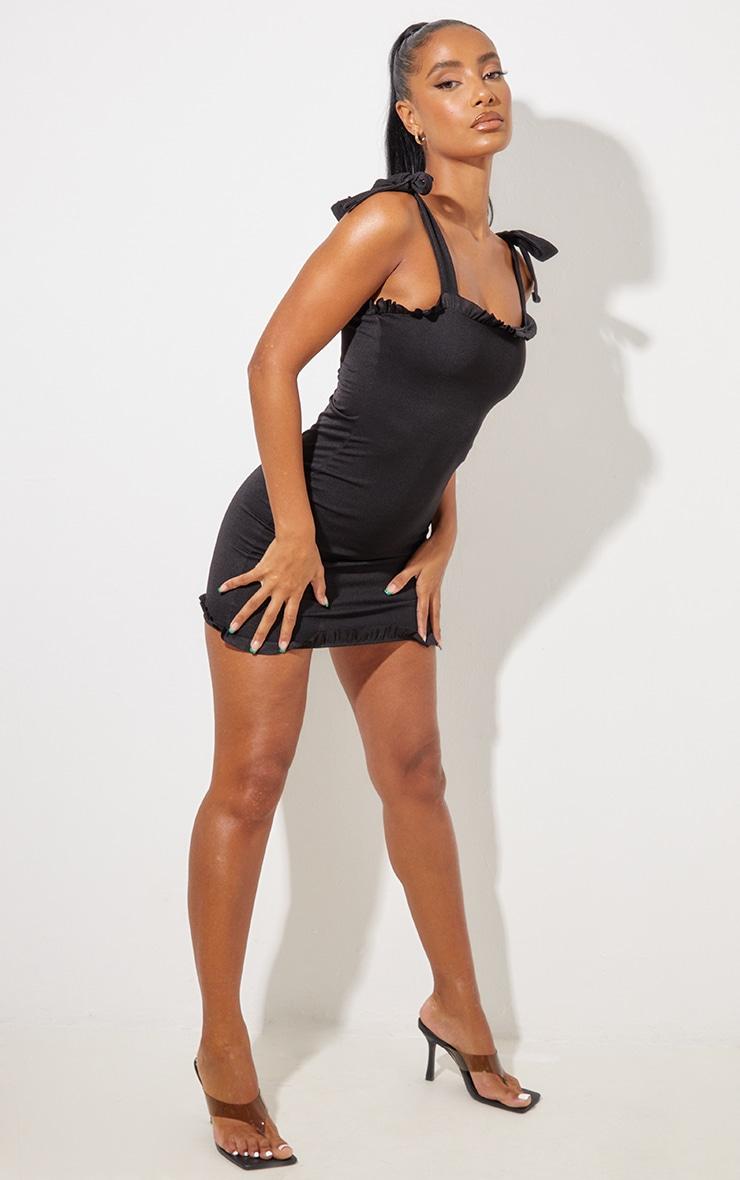 Black Frill Tie Shoulder Bodycon Dress 4