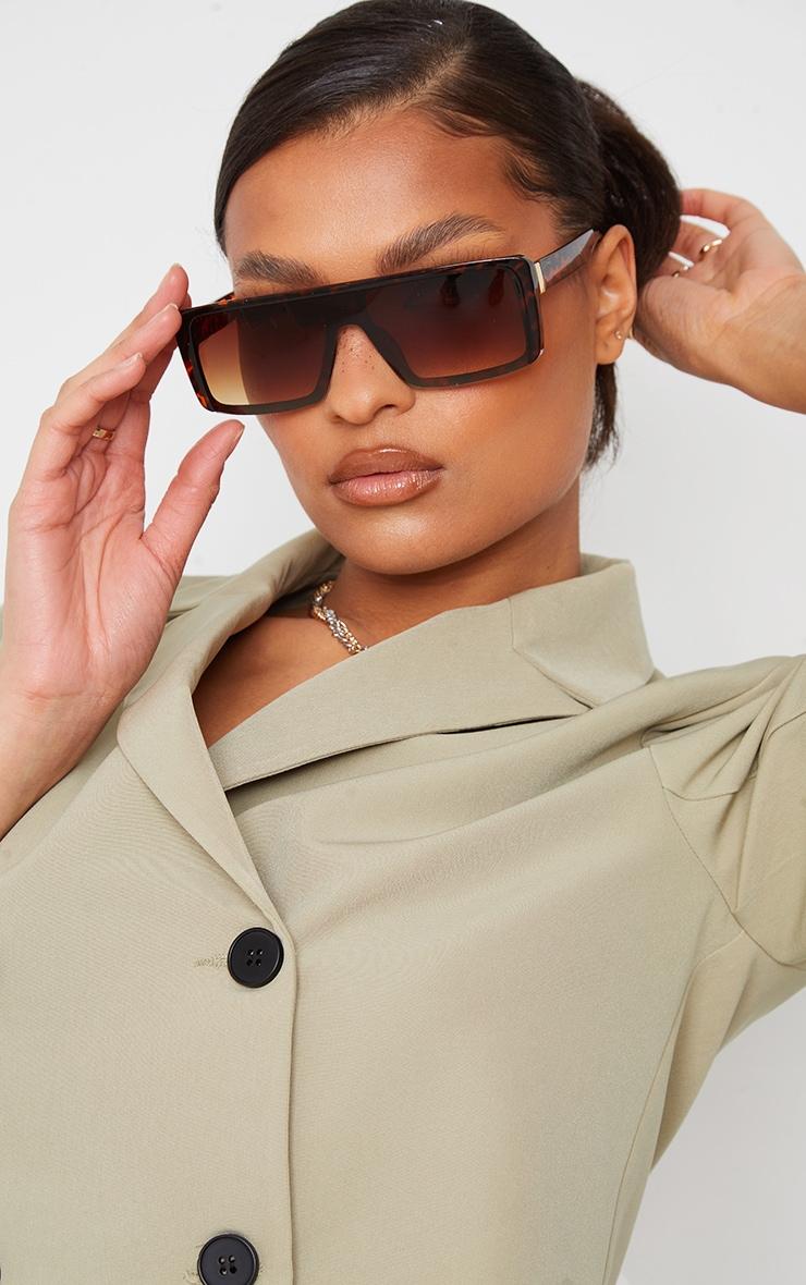 Brown Tort Slim Visor Sunglasses 1