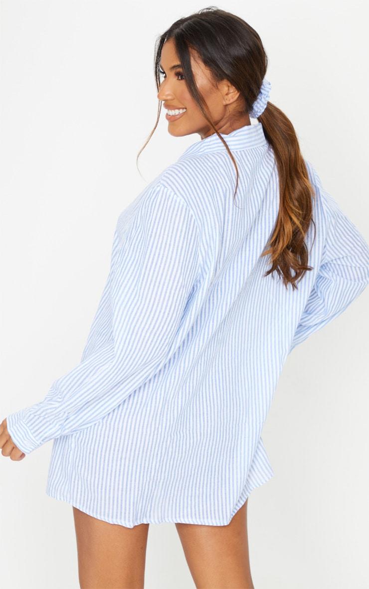 Blue Striped Open Collar Cotton Oversized Nightshirt With Scrunchie 2