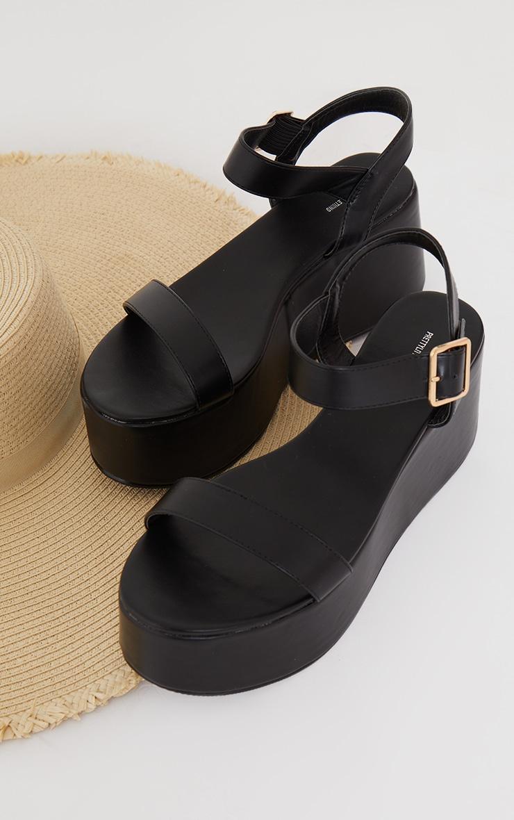 Black Ankle Strap High Flatform Sandals 3