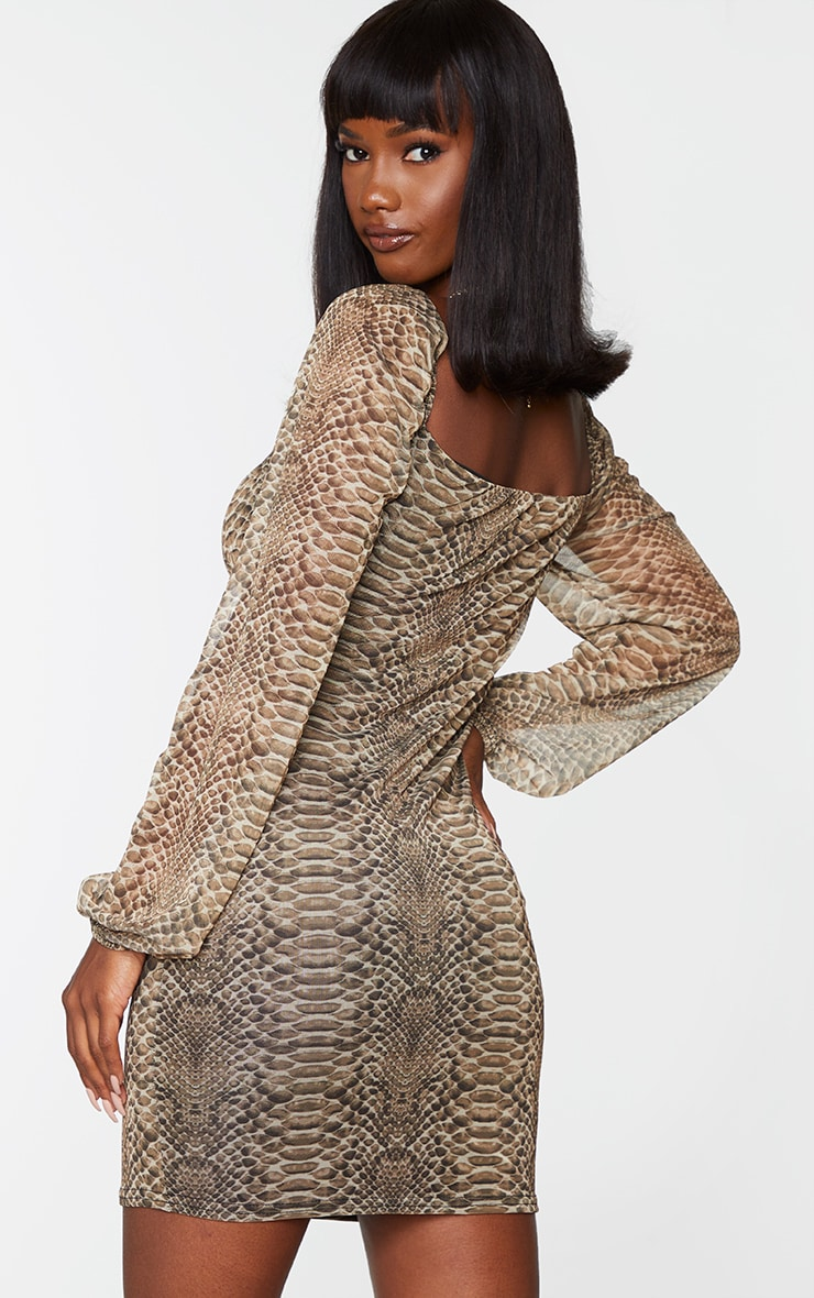 Nude Snake Print Mesh Ruched Bust Long Sleeve Bodycon Dress 2