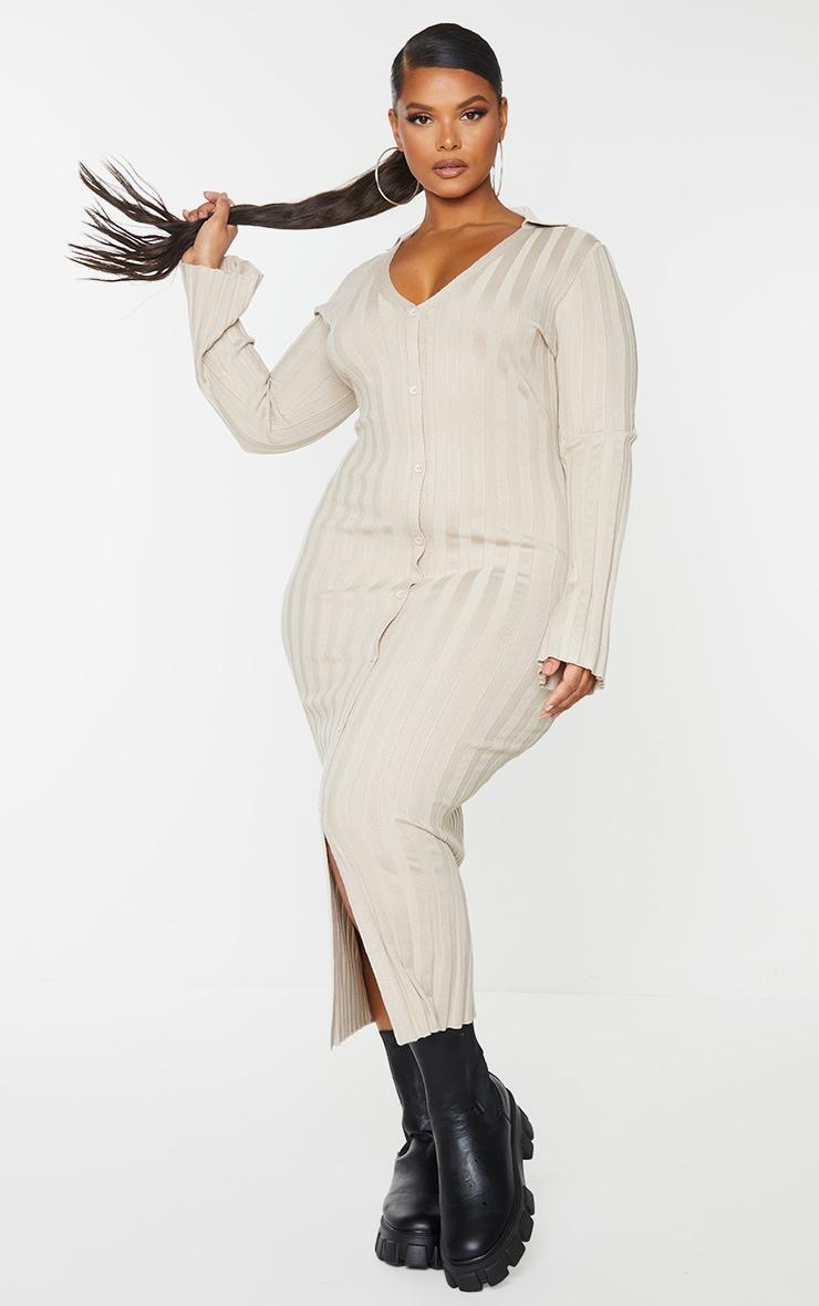 Plus Stone Rib Knitted Longsleeve Midaxi Dress 3