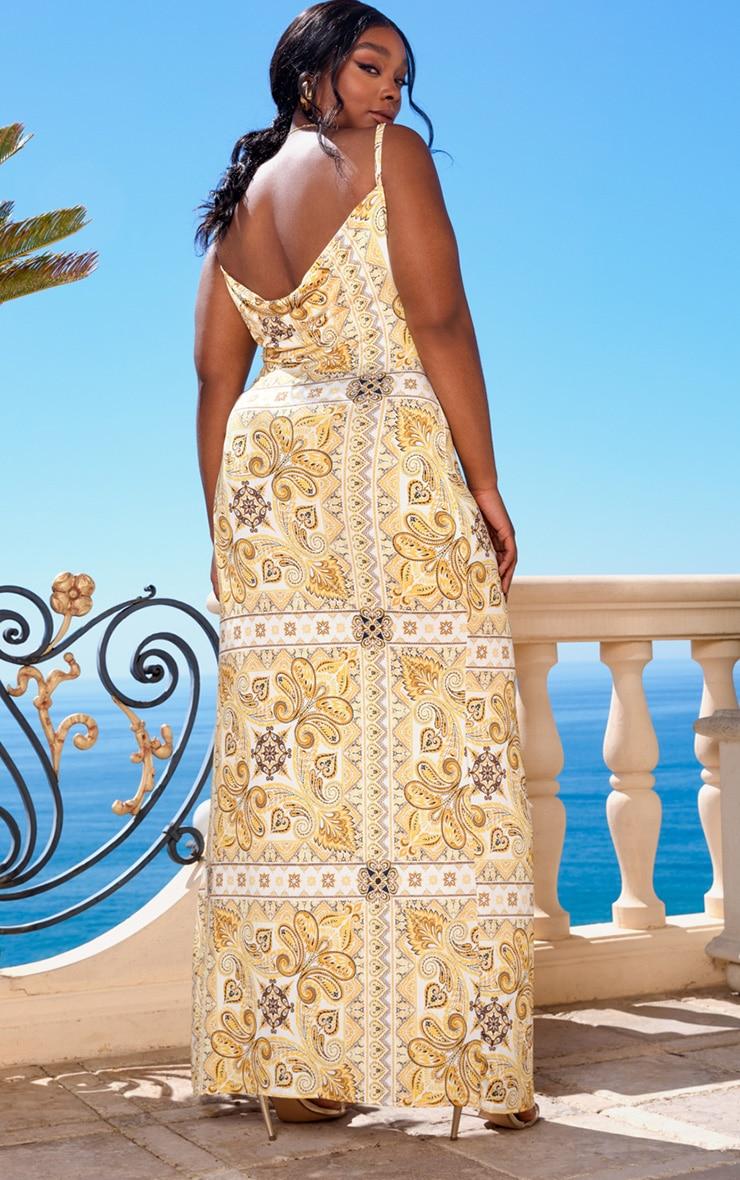 Plus Yellow Tile Print Cowl Neck Maxi Dress 2
