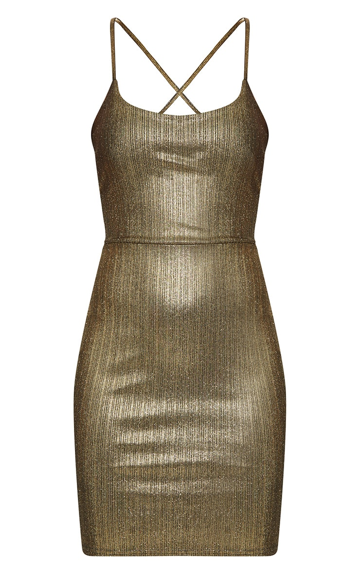 Gold Metallic Strappy Back Bodycon Dress  3