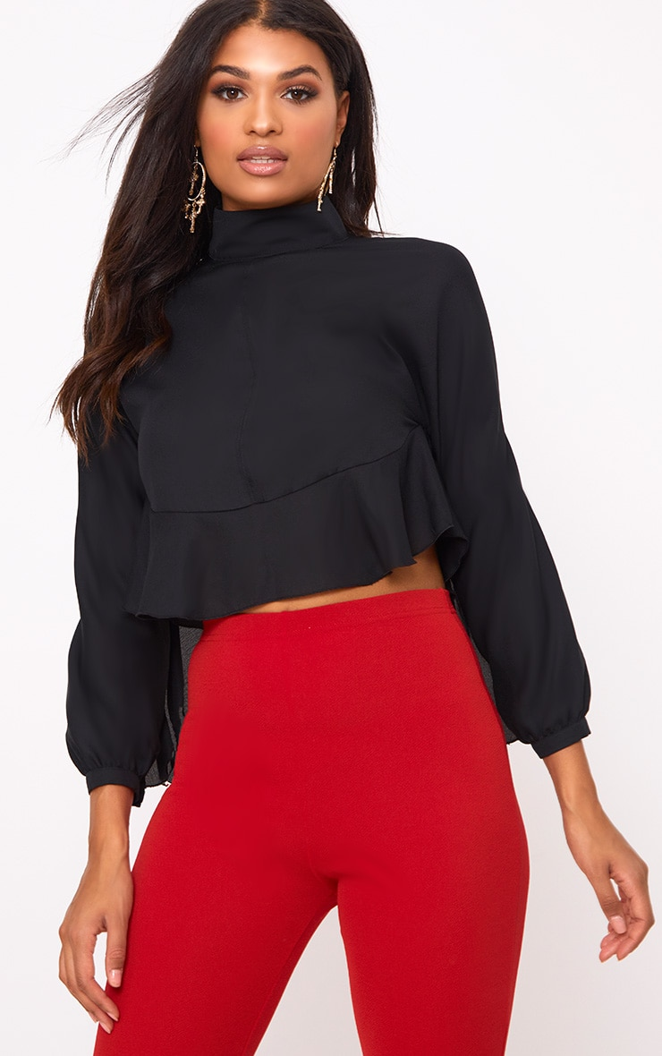 Black Frill Detail Open Back Blouse 2