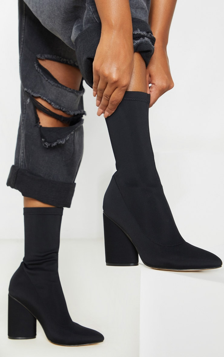Black Chunky Block Heel Sock Boot 1