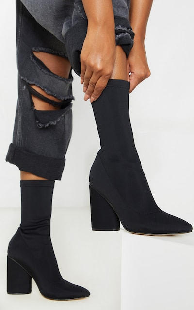 Black Pu Toe Cap Square Toe Calf Heeled Sock Boots