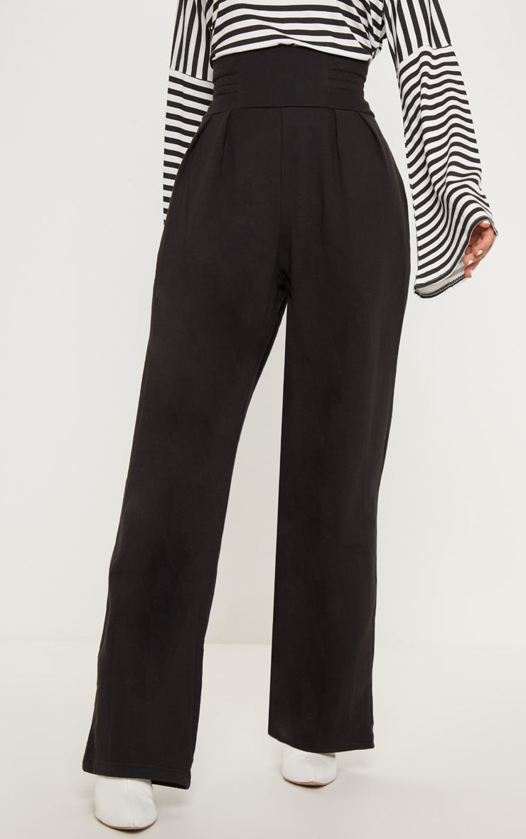 Black Ruched Waist Sweat Pants 2