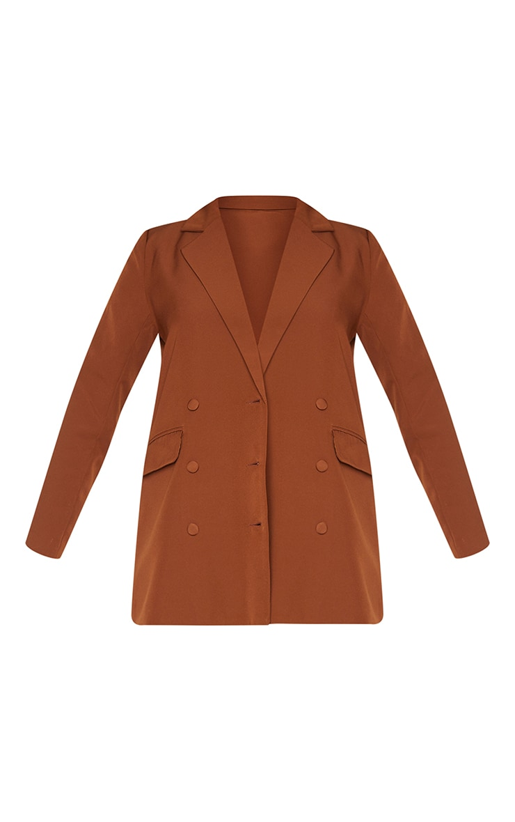 Chocolate Double Breasted Covered Button Blazer 5