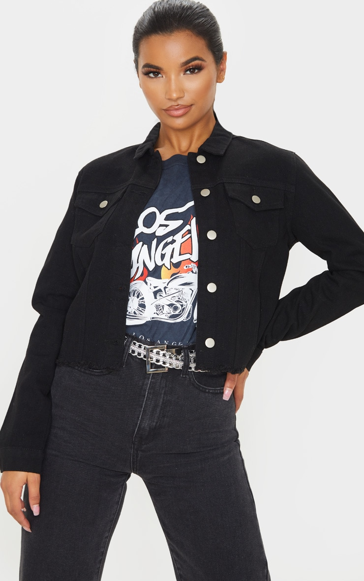 Black Basic Raw Hem Cropped Denim Jacket 1