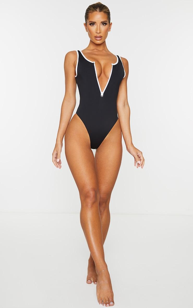 Black Contrast Zip Front Scuba Swimsuit 3