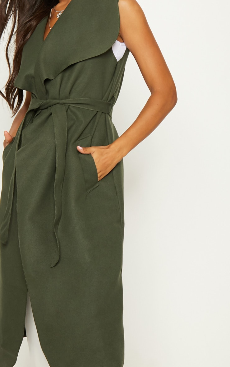 Valerie Khaki Sleeveless Waterfall Coat  5