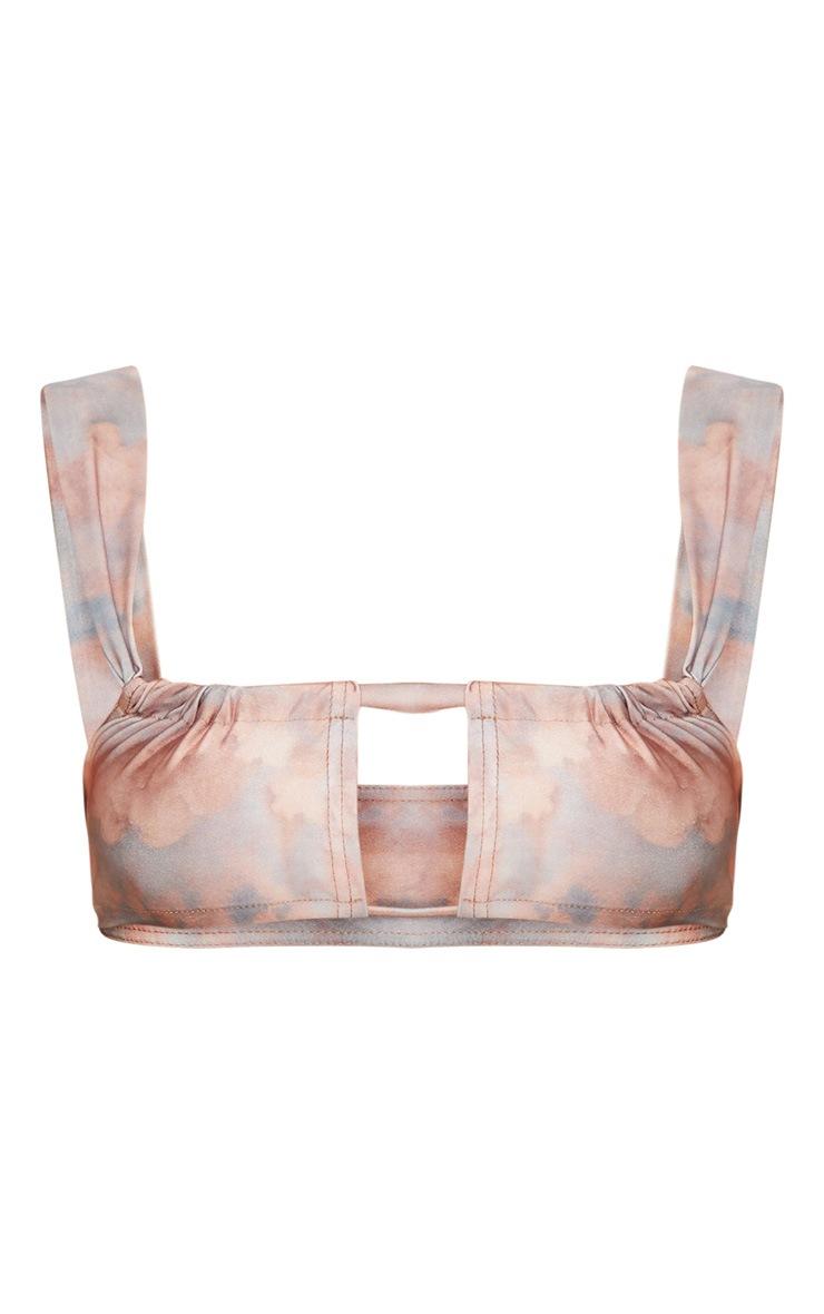 Pink Renaissance Cloud Key Hole Adjustable Scoop Neck Bikini Top 3