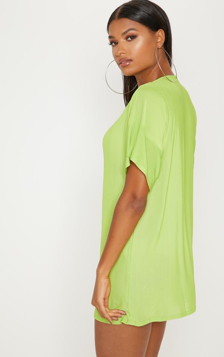 Lime Mesh Zip Front T Shirt Dress 2