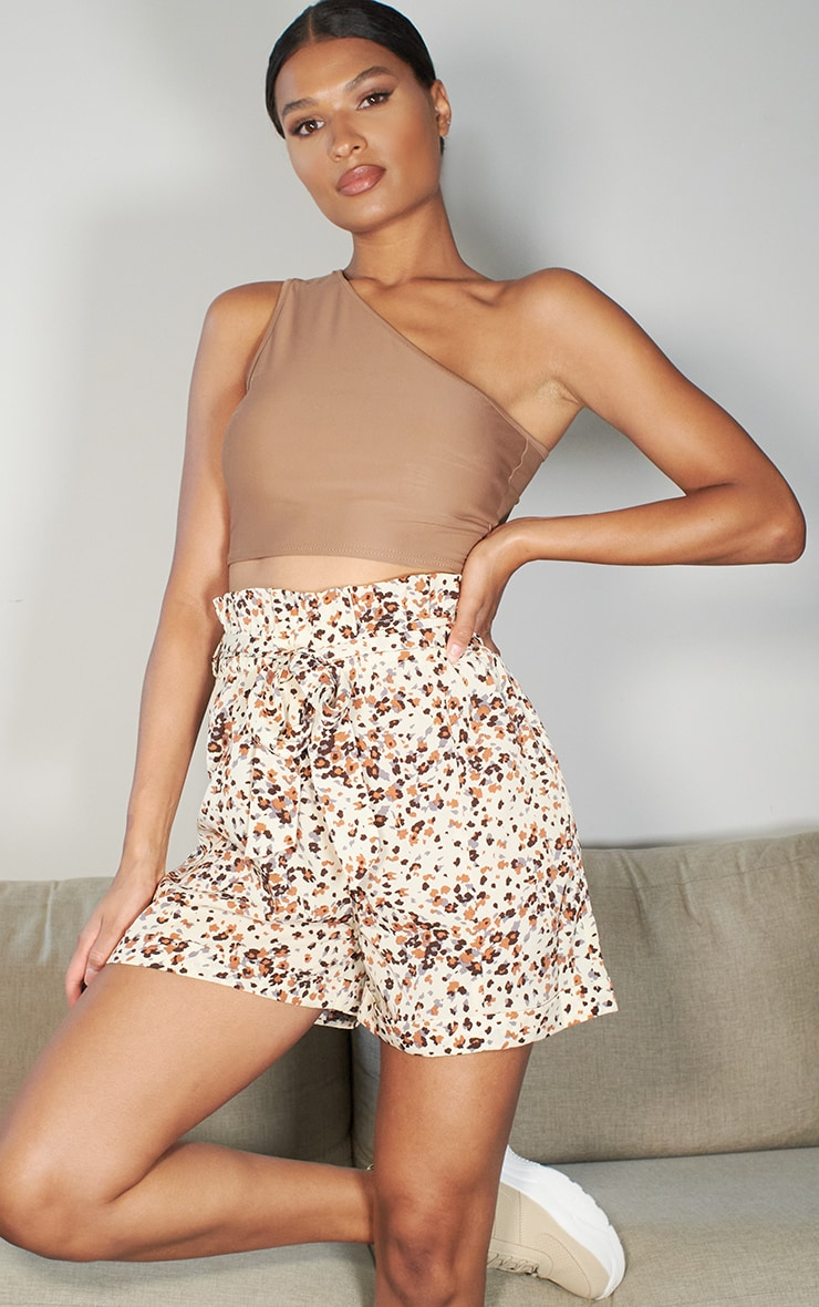 Stone Abstract Print Tie Waist Short 1