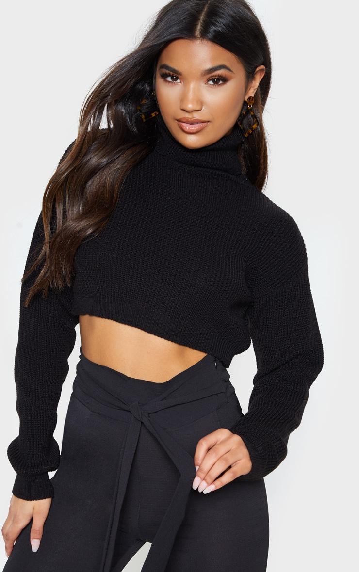 black super cropped high neck knitted jumper
