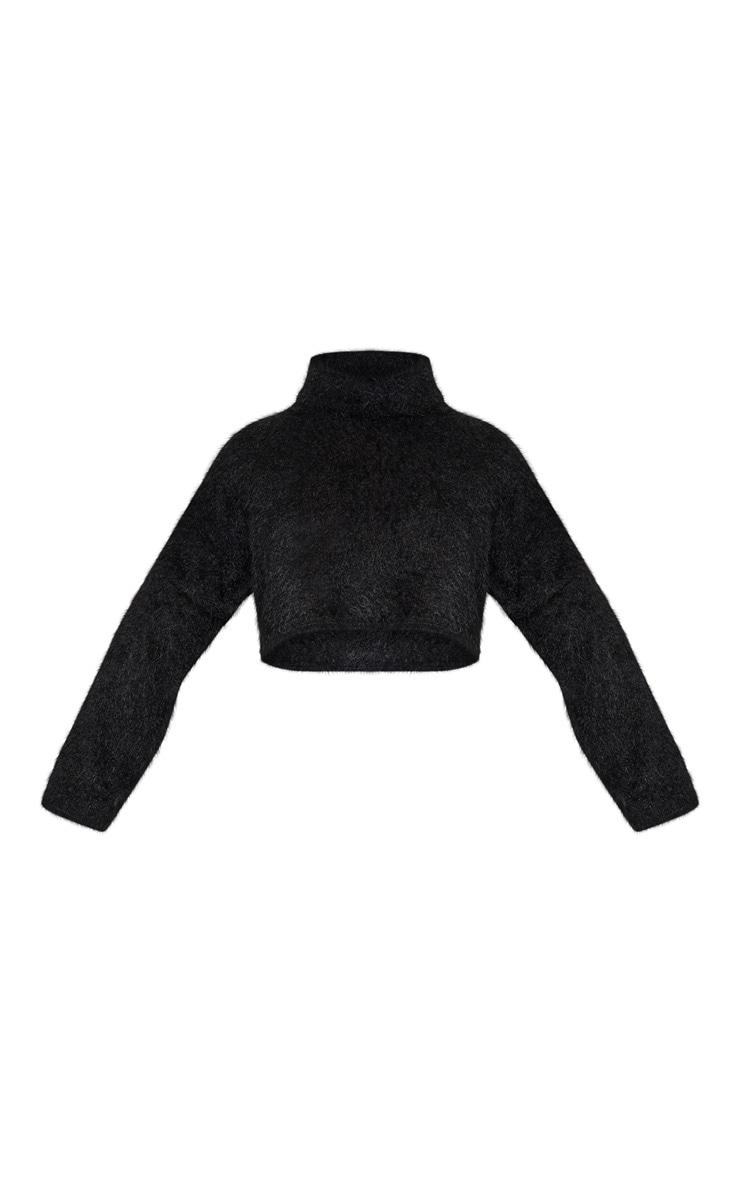 Plus Black Fluffy Knit Roll Neck Crop Sweater  3