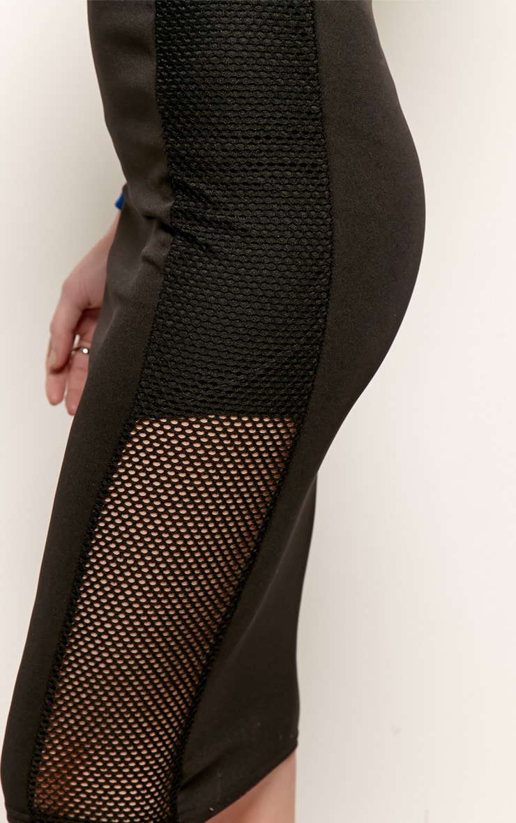 Dita Black Fishnet Panel Midi Skirt 5