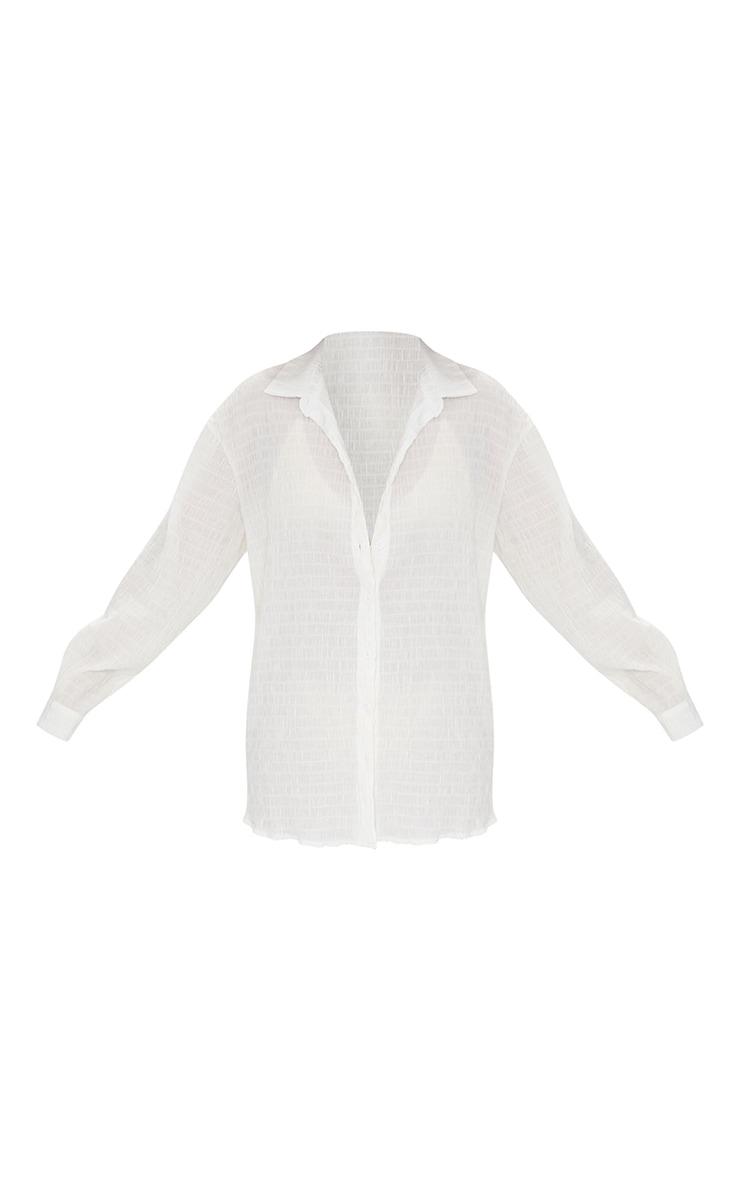 White Shirred Crinkle Oversize Beach Shirt 5