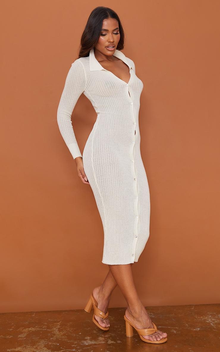 Cream Sheer Knit Button Up Midaxi Dress 3