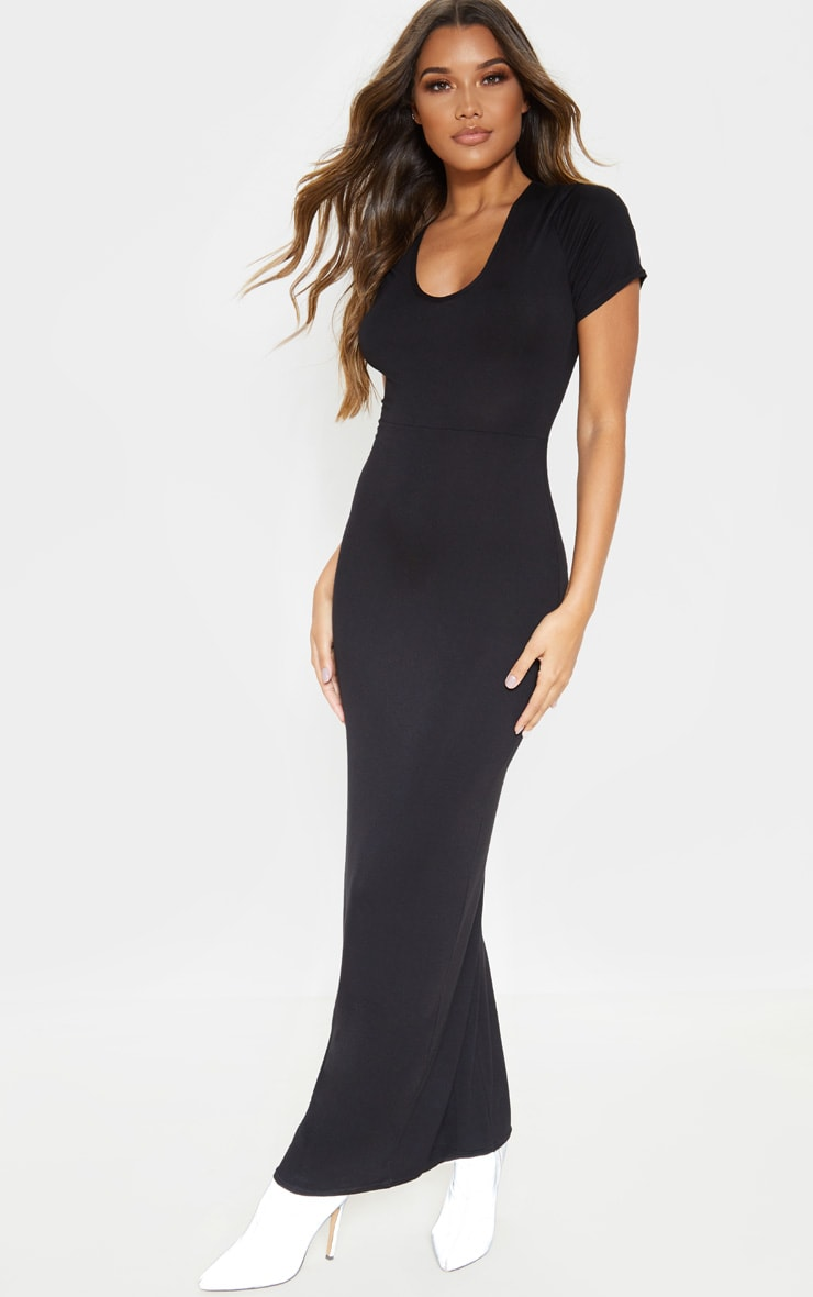 Black Jersey V Neck Short Sleeve Maxi Dress 4