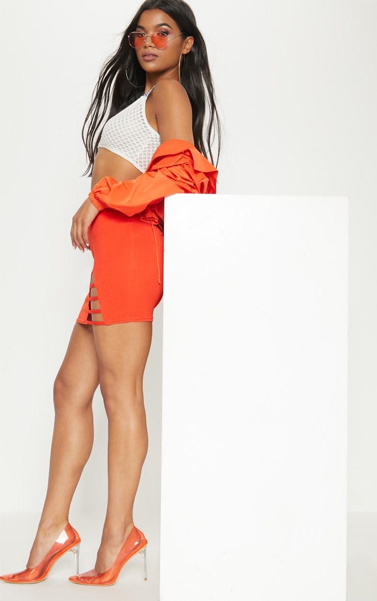 Hot Orange Ladder Detail Mini Skirt  5