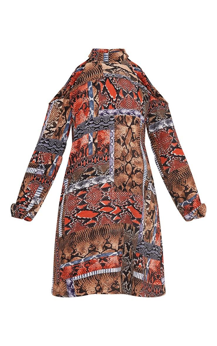 Holly Brown Cold Shoulder Snake Print Swing Dress 3