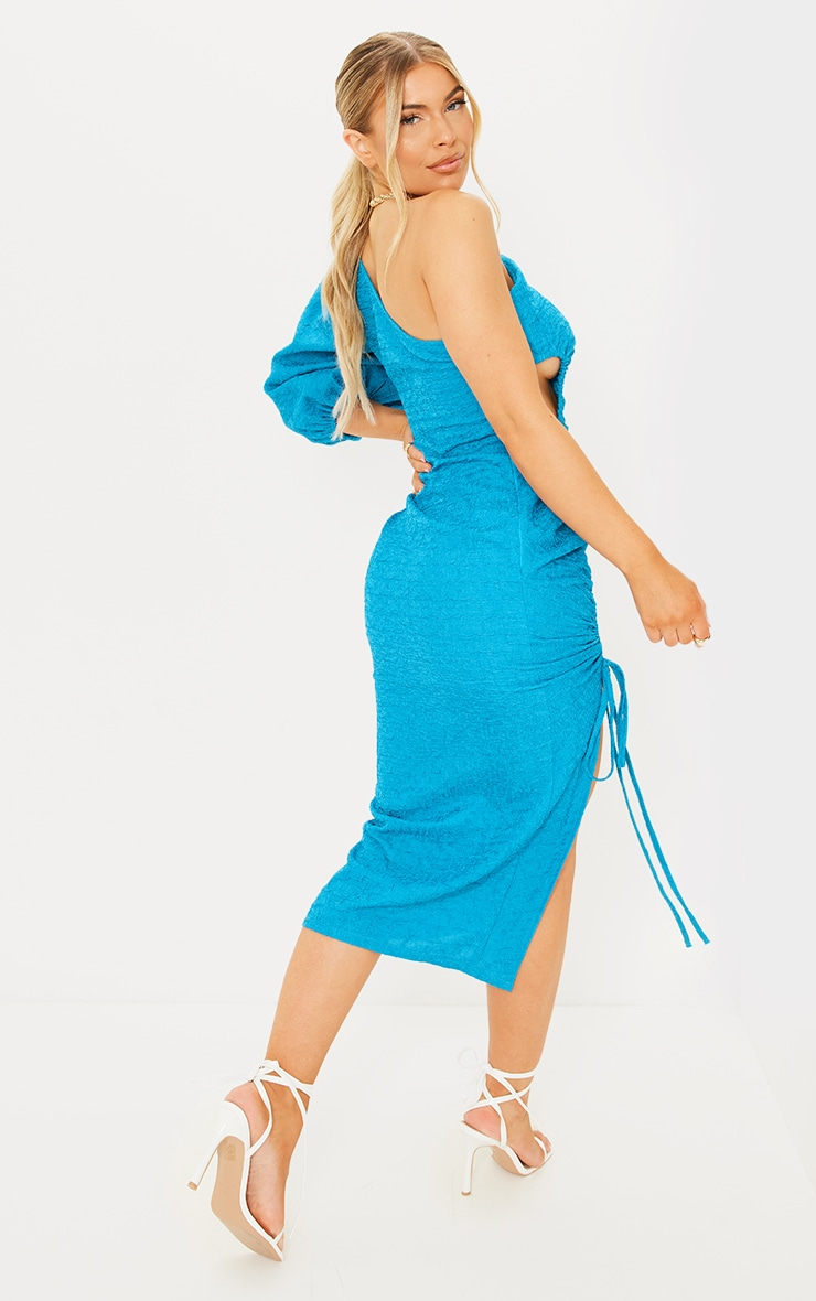 Teal Crinkle Ruched One Shoulder Cut Out Midi Dress 2