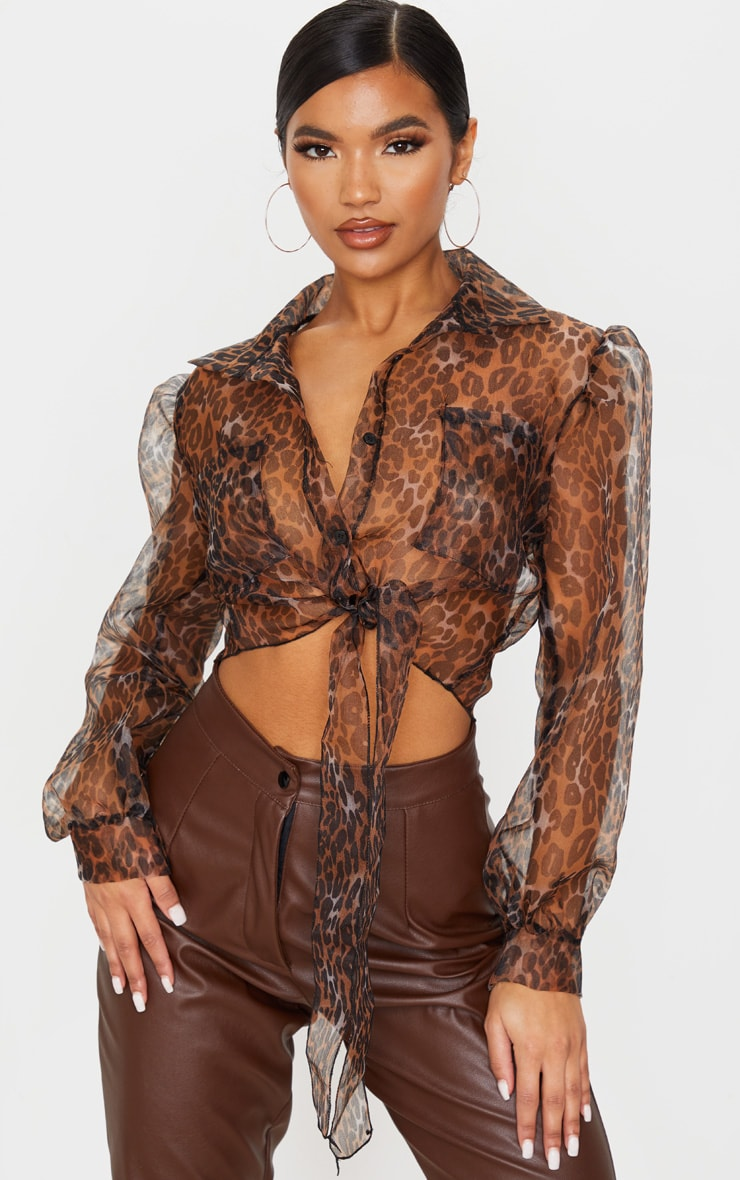 Tan Leopard Sheer Tie Front Cropped Blouse 1