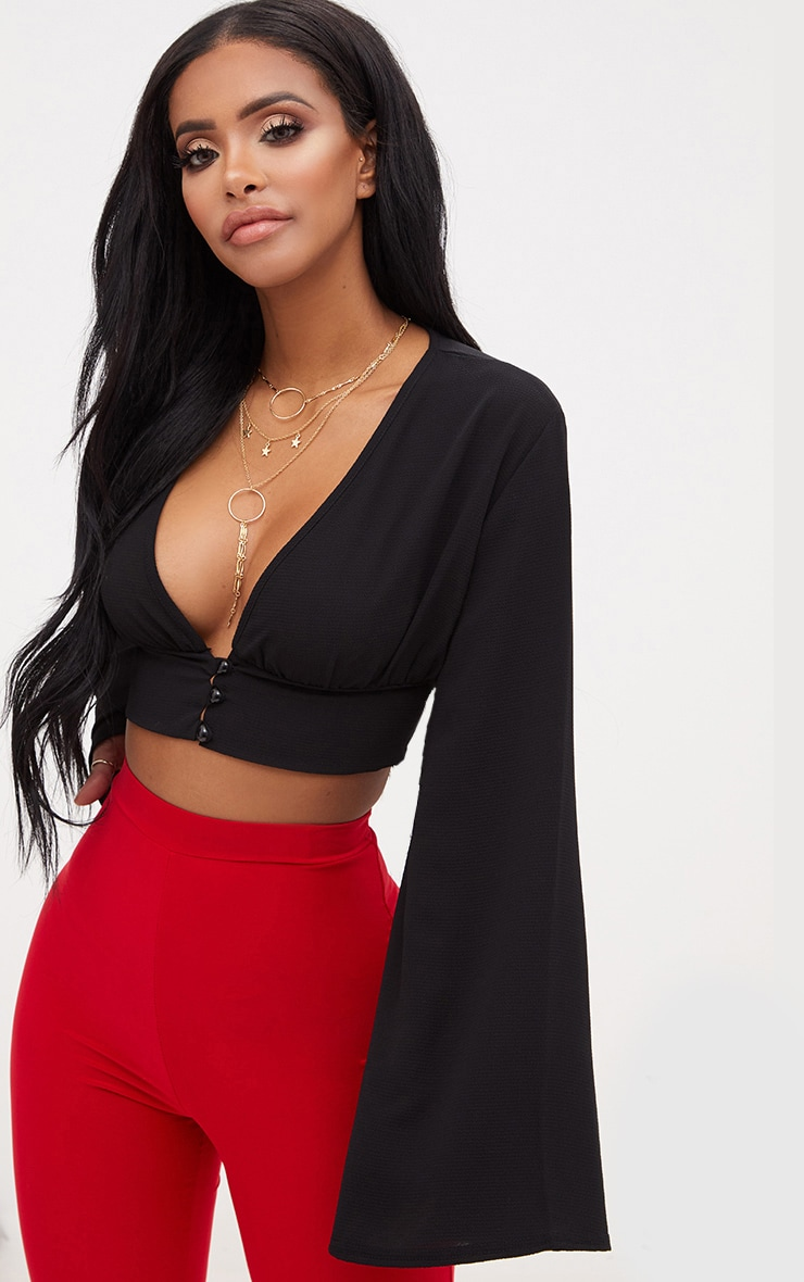 Shape Black Button Front Bell Sleeve Top 1