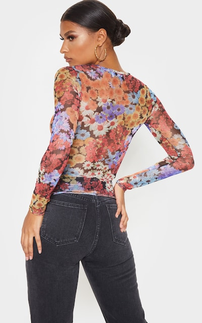 Multi Floral Printed Sheer Mesh Ruched Front Top