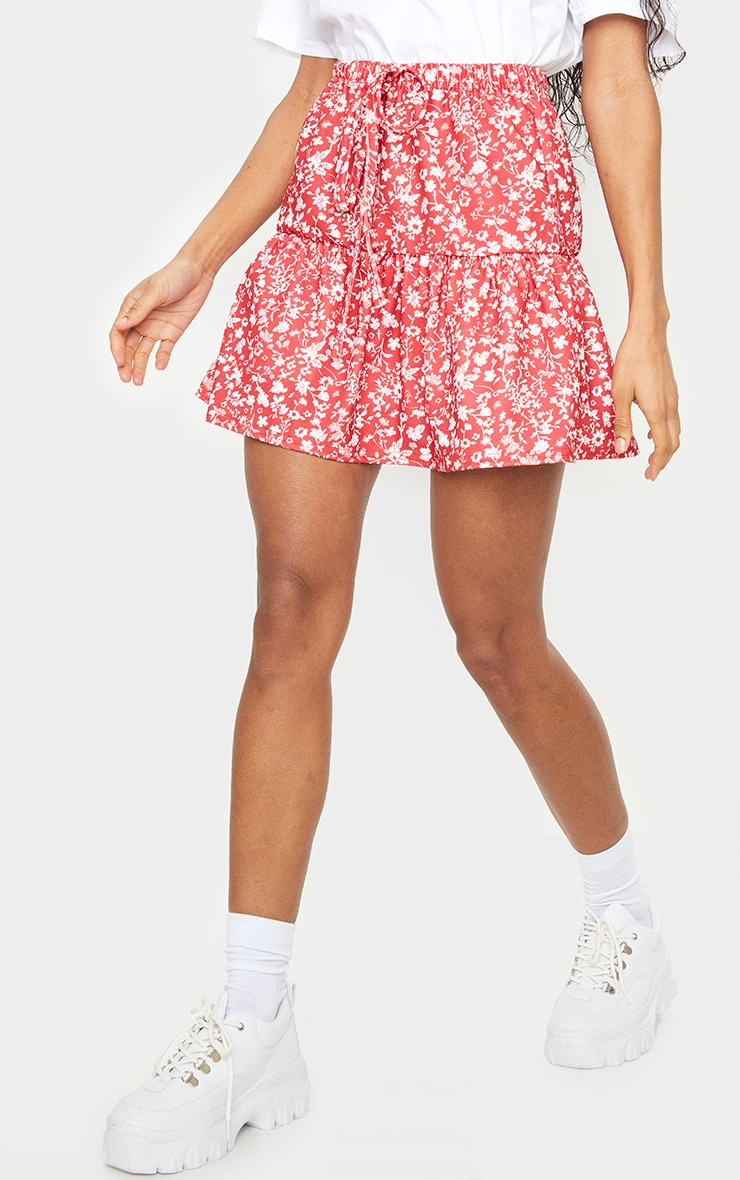 Red Ditsy Floral Tie Waist Ruffle Skirt 2