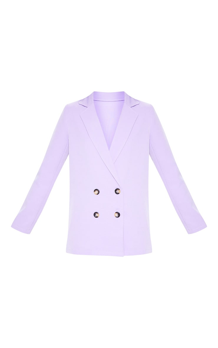 Lilac Oversized Button Detail Woven Blazer 3