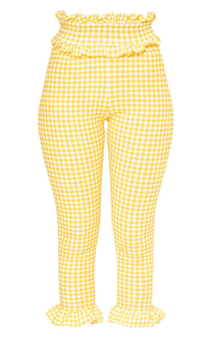 Keren Yellow Gingham Frill Trim Trousers 3