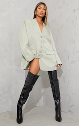 Black Faux Leather Pointed High Heel Over The Knee Boots 1