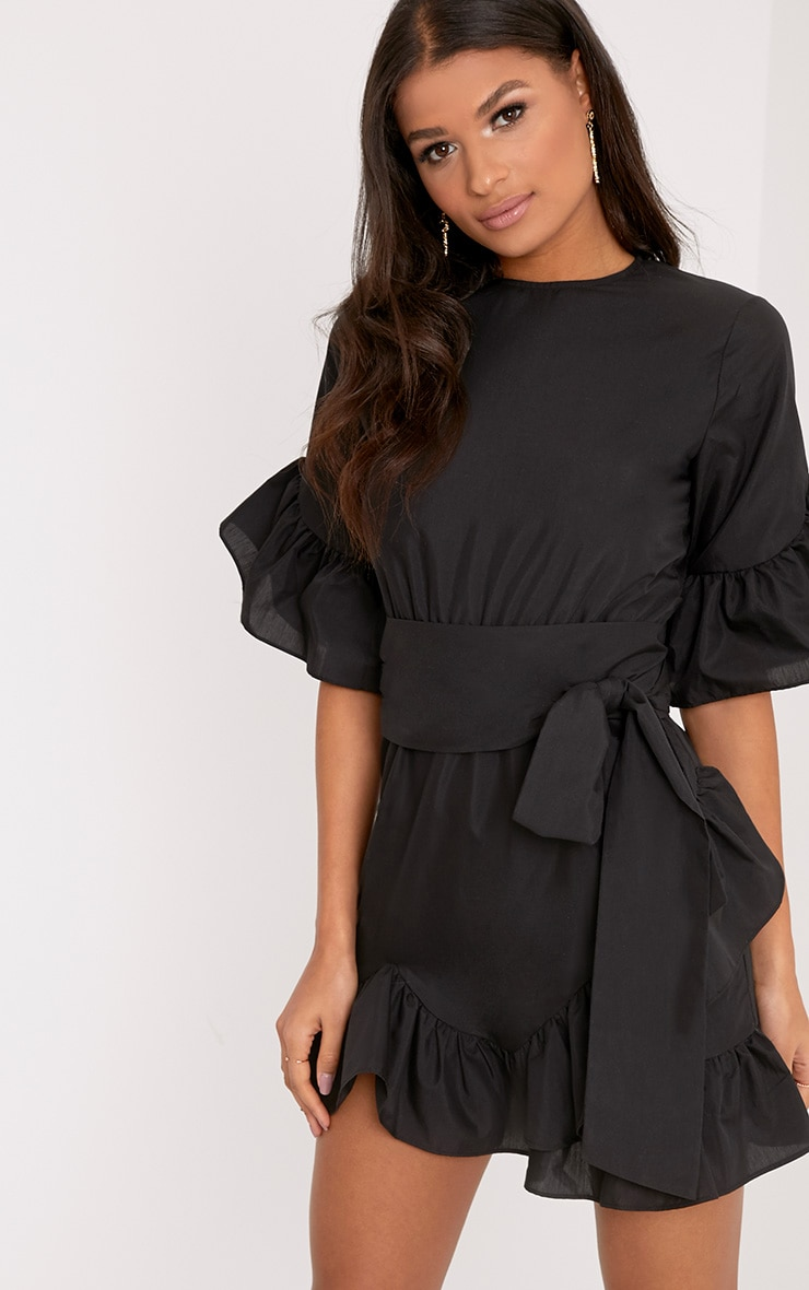 Aaliyah Black Frill Detail Mini Dress 1