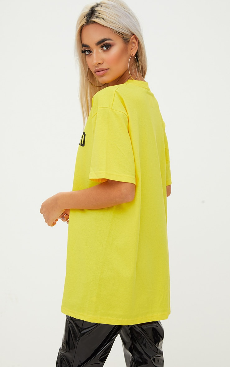 Overdressed Slogan Yellow Oversized T Shirt 4
