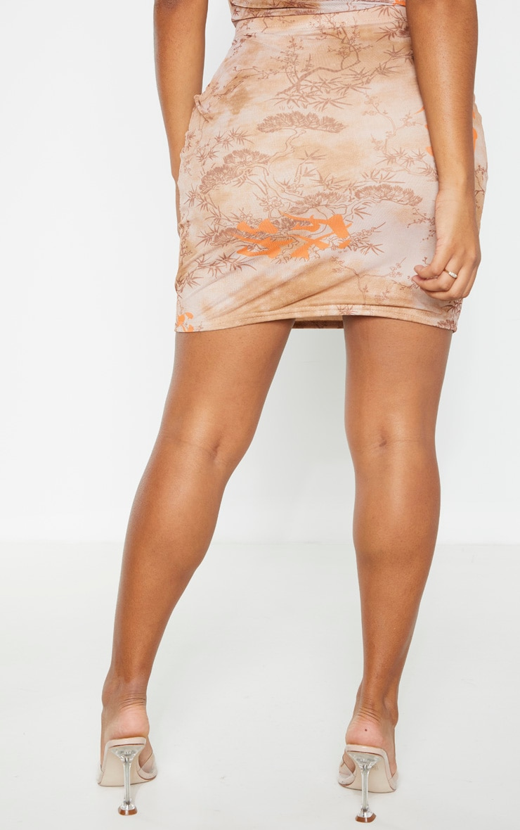Shape Nude Oriental Print Bodycon Skirt 4