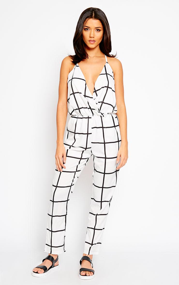 Macy White Grid Print Jumpsuit 5