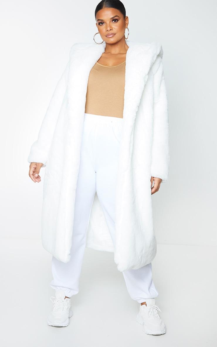Plus White Premium Longline Faux Fur Hooded Coat