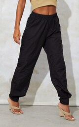 Black Woven Button Velcro Ankle Trousers 2