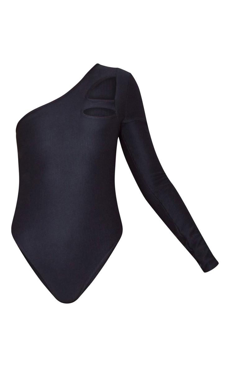 Black Rib Cut Out One Shoulder Bodysuit 5