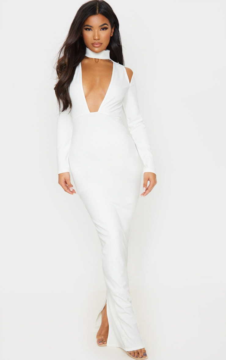 White High Neck Extreme Plunge Maxi Dress 4