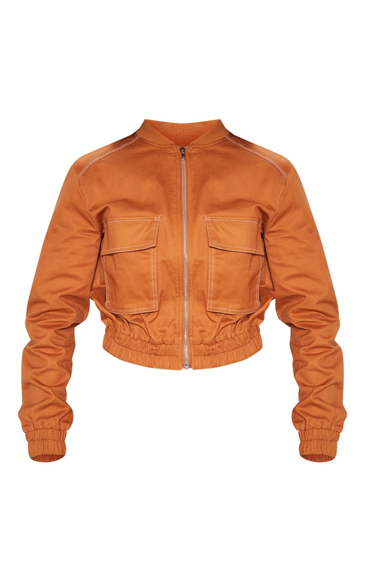 Toffee Utility Pocket Detail Bomber Jacket 3
