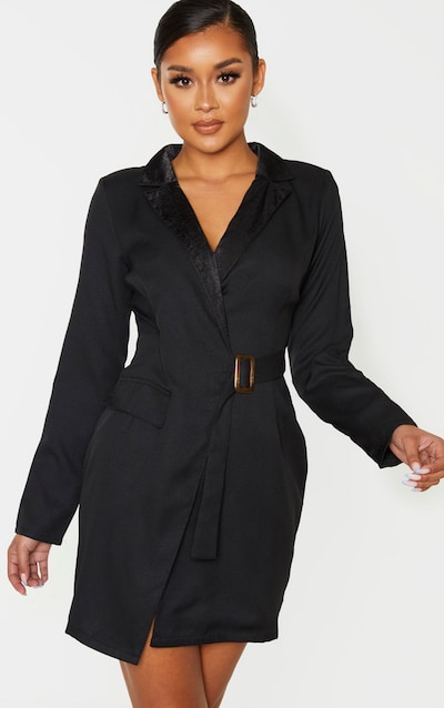 Black Satin Lapel Belt Detail Blazer Dress
